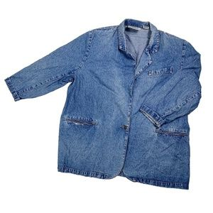 Vintage Jordache Jeans Blue Denim Blazer Jacket 1X